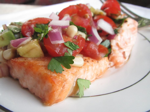 Salmon with fresh tomato avocado - Paleo, Whole30