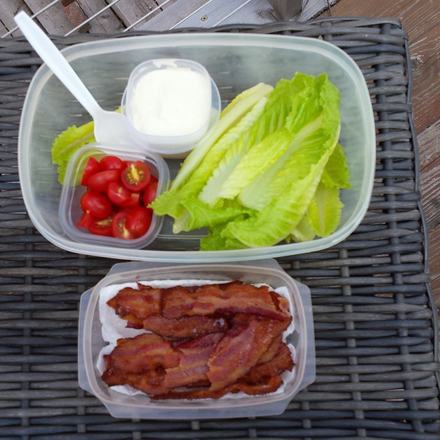 Paleo snack to go: breadless BLTs.