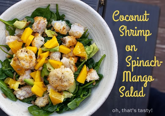 Paleo/Whole30 Dinner: Coconut Shrimp on Spinach Mango Salad