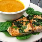 paleo dinner: herbed salmon + pumpkin soup