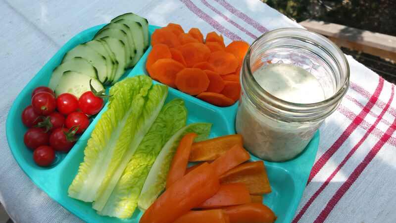 veggie tray with dairy-free ranch dressing