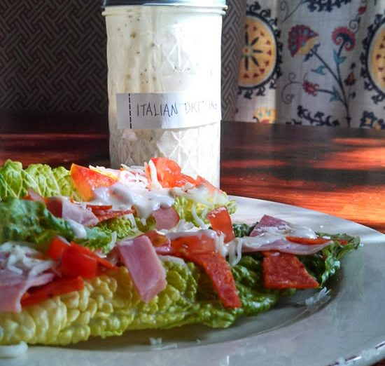 make some salad; creamy italian dressing