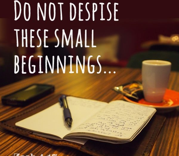 Do not despise these small beginnings, Zech. 4;17