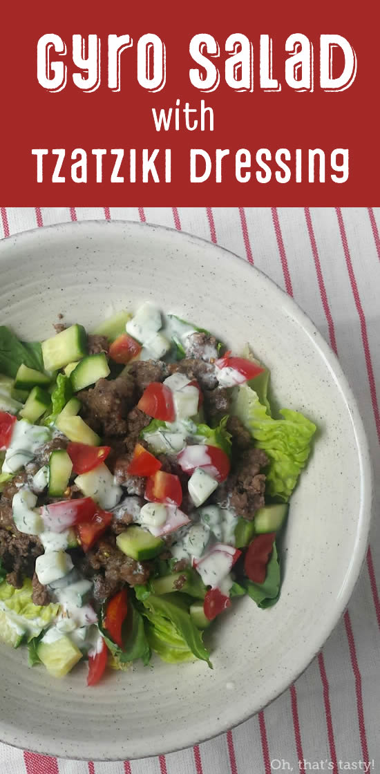 I often make this easy gyro-inspired salad for myself for lunch, but it makes a great throw-together dinner, too! Almost Paleo, grain-free, gluten-free, sugar-free.
