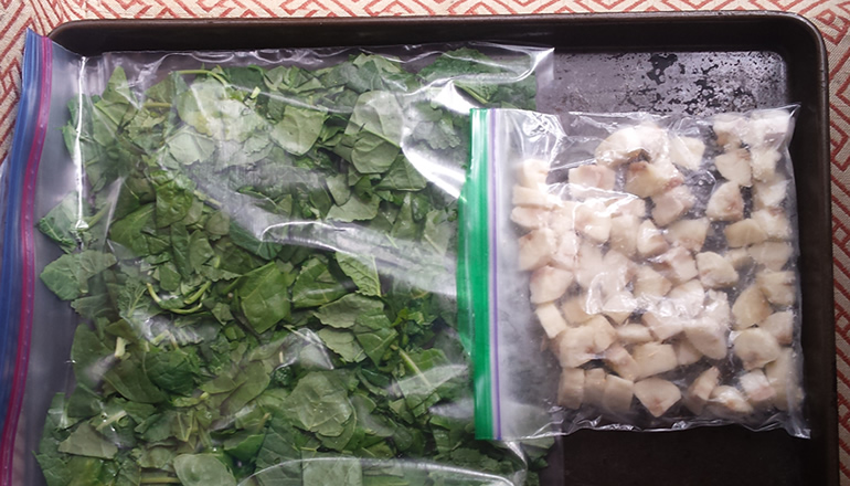 freezer meal prep; greens