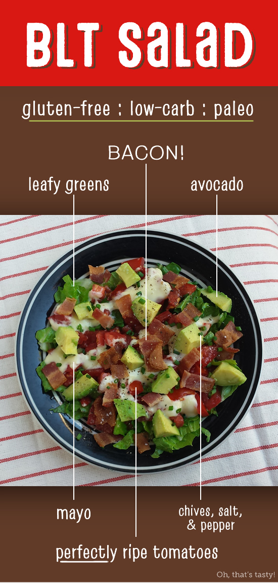 BLT Salad with Avocado - I love this super-easy salad in the summer when tomatoes are perfectly ripe! It satisfies my craving for BLTs without the bread! Gluten-free, low-carb, Paleo, & Whole30 compliant.