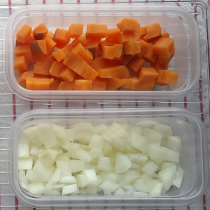 diced sweet potato and onion