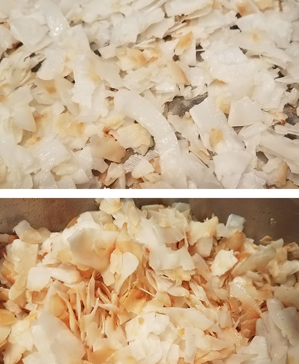 coconut in two stages of toasting, for granola