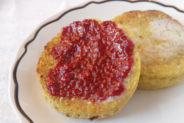 Paleo, Keto, gluten-free English muffin with chia seed jam