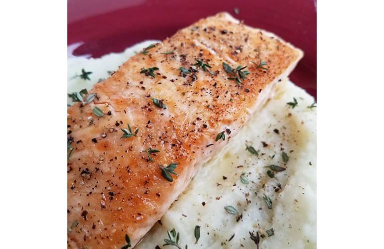 pan-seared salmon on mashed cauliflower