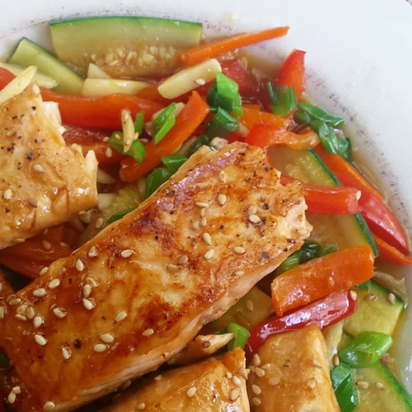 pan-seared salmon on stir-fry