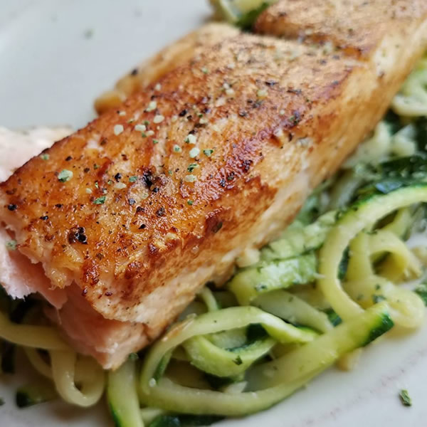 pan-seared salmon on zoodles