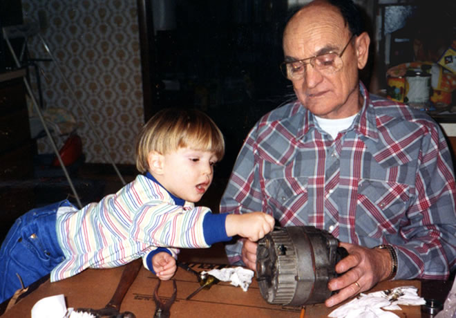 helping Grandpa fix a motor