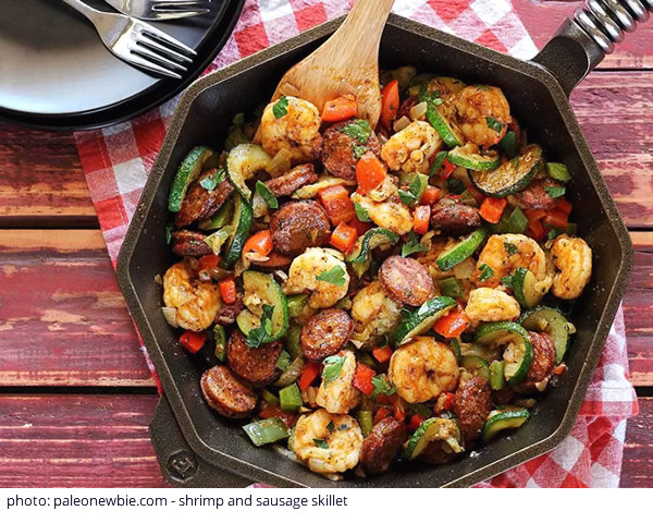 shrimp and sausage skillet by Paleo Newbie
