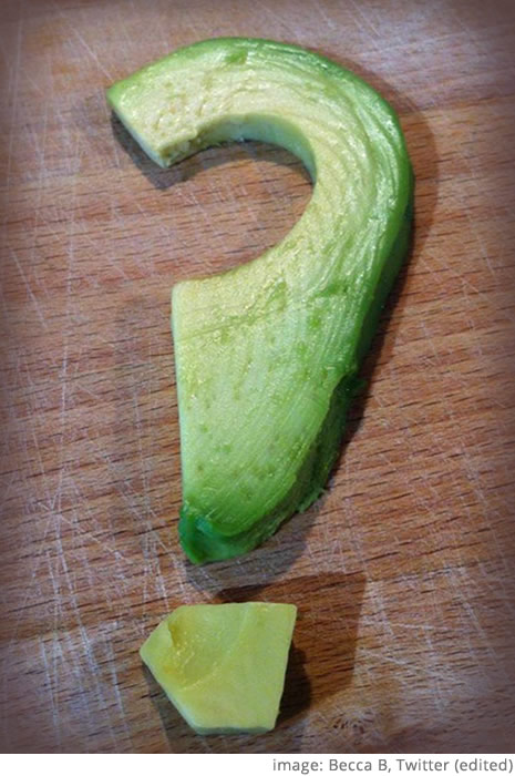 avocado question mark