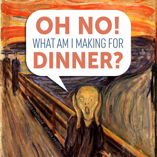 'The Scream' painting, yealling 'oh no, what am I making for dinner?'