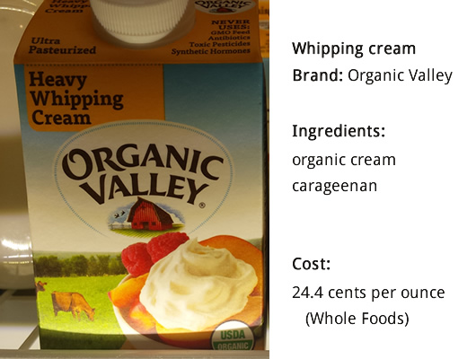 Organic Valley - cream ingredients + cost