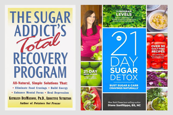 Book covers: sugar addict + 21-day sugar detox