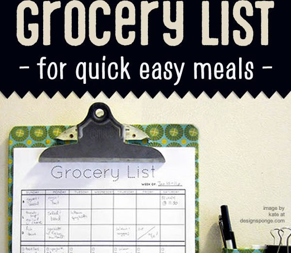 grocery list for quick easy meals
